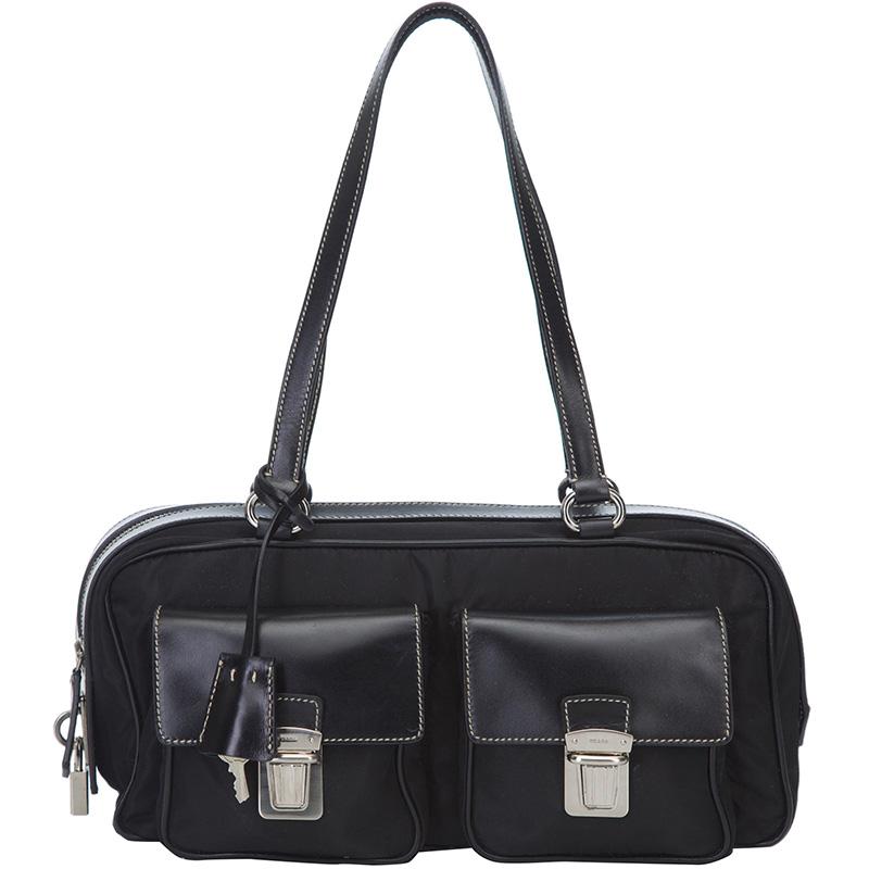fbdd520e2594 Buy Prada Black Nylon Shoulder Bag 130629 at best price   TLC