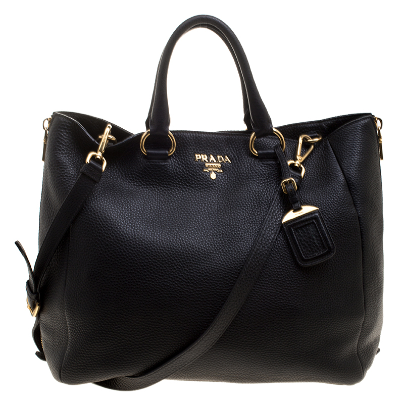 1d2621a52b34 ... Prada Black Leather Vitello Diano Leather Side Zip Tote. nextprev.  prevnext