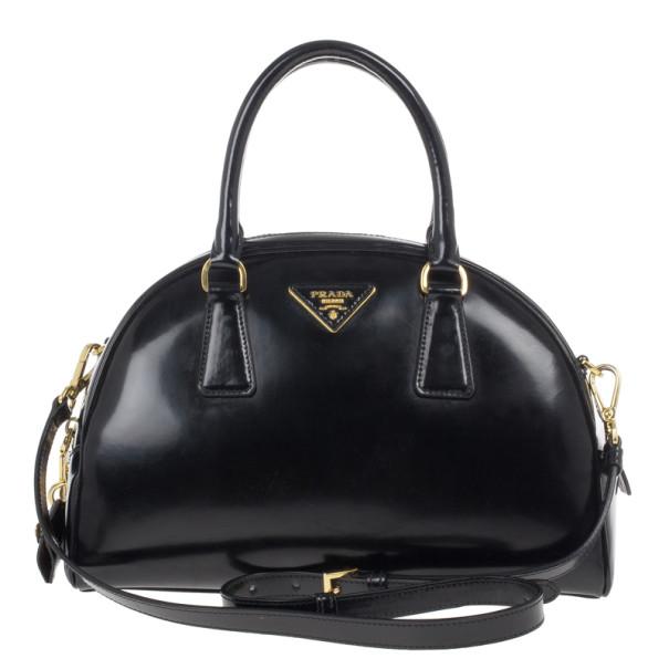 804709386736 Buy Prada Black Patent Leather Dome Bag 13563 at best price