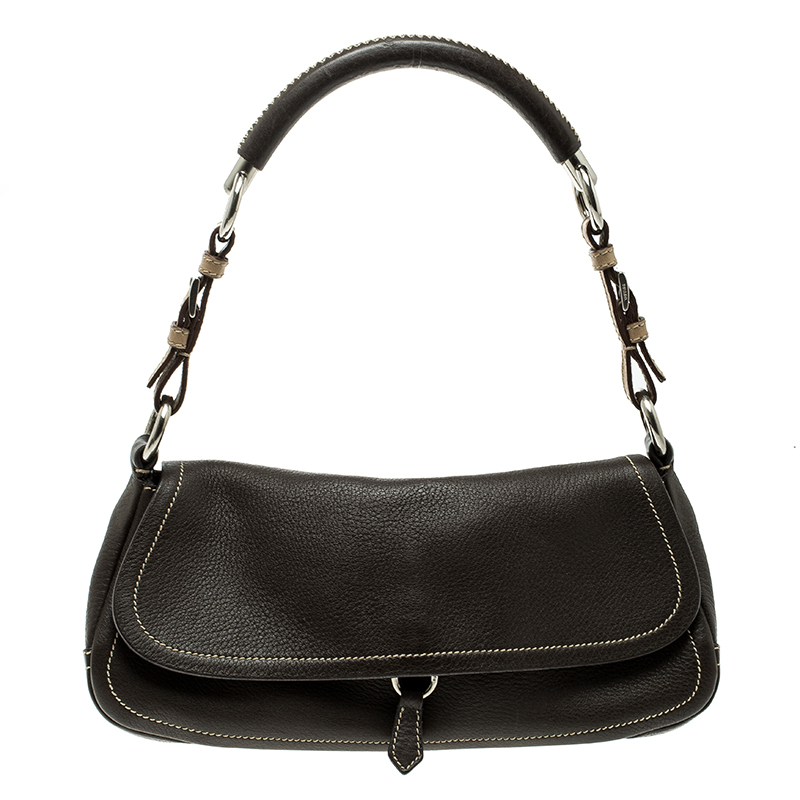 ed82c4c43c87 ... Prada Brown Vitello Daino Leather Pochette Shoulder Bag. nextprev.  prevnext