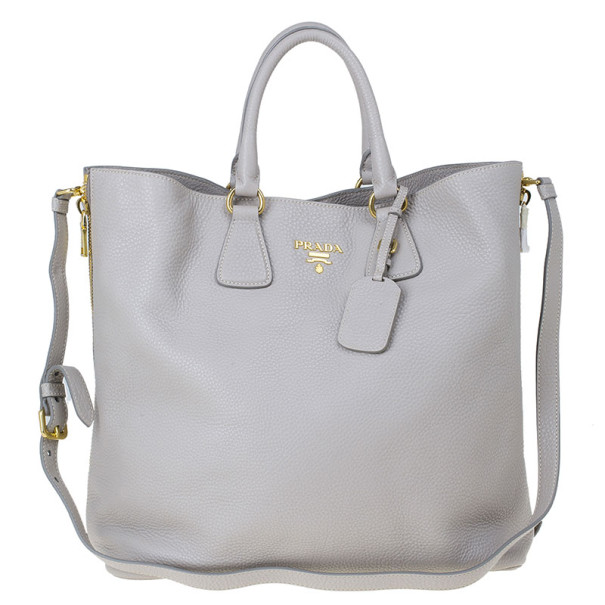 006a10240fa0 Buy Prada Grey Pomice Vitello Daino Shopper Tote 13710 at best price ...