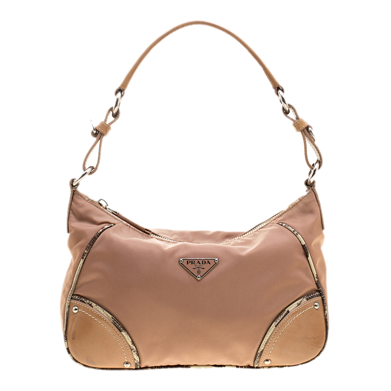589f81215176 Buy Prada Beige Nylon Baguette Shoulder Bag 137357 at best price