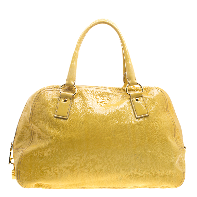 1d1728f34ed ... Prada Yellow Crinkled Patent Leather Satchel. nextprev. prevnext