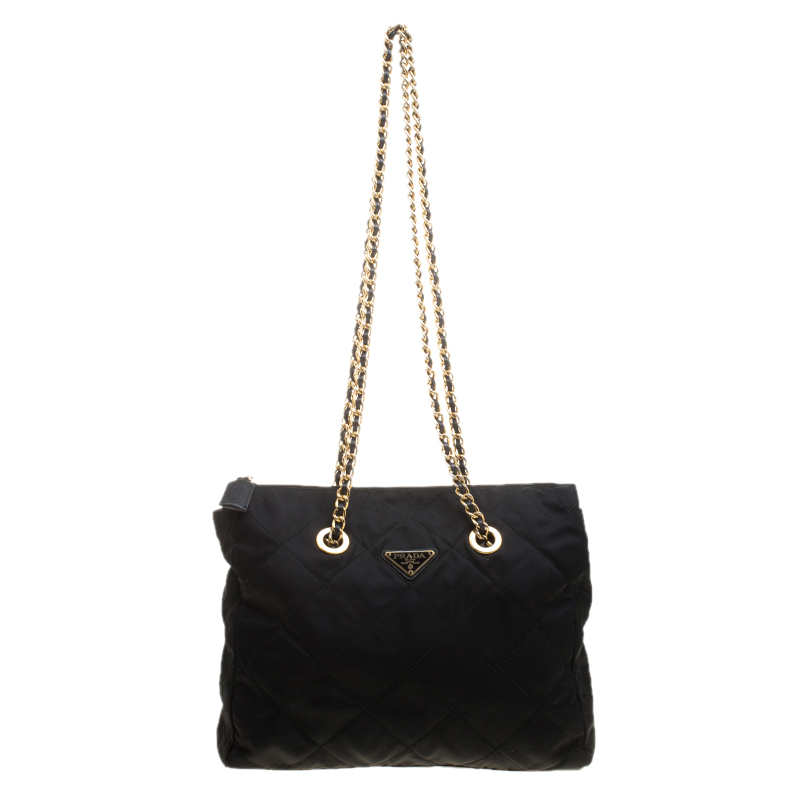 Buy Prada Black Quilted Nylon Chain Tote 137473 at best price  f6a3f60e1462d