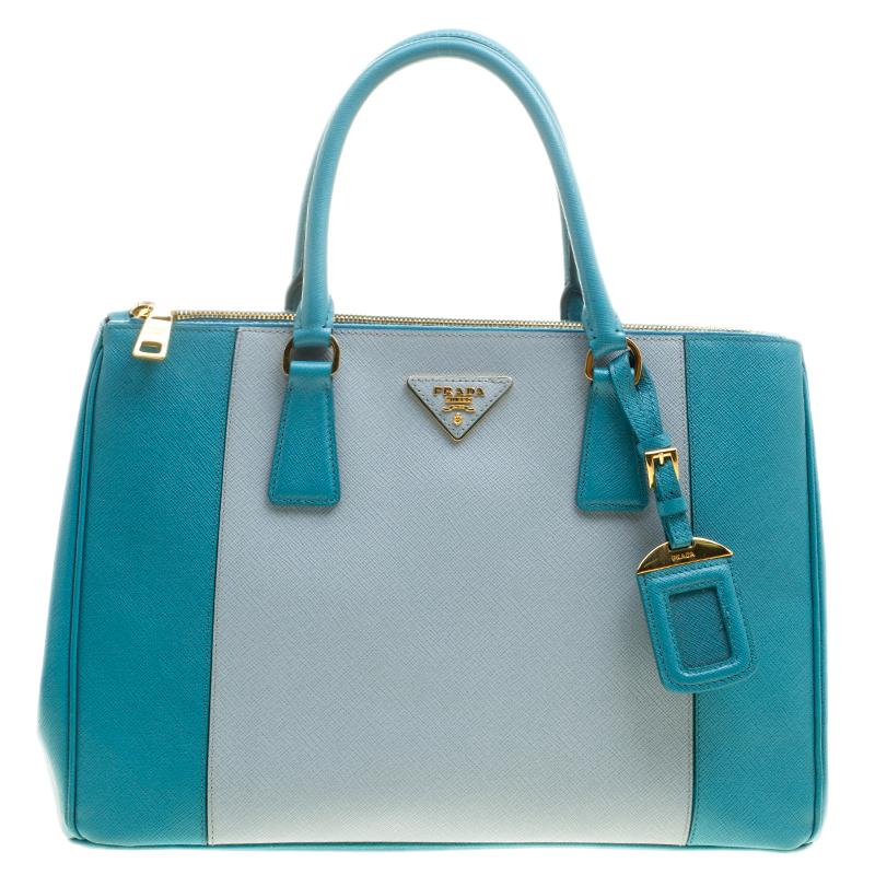 2269bd829f4a39 ... Prada Blue Bicolor Saffiano Lux Leather Medium Double Zip Tote.  nextprev. prevnext