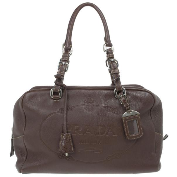 c0ad8e4aec5f Buy Prada Maroon Deerskin Logo Top Handle Bag 13988 at best price | TLC
