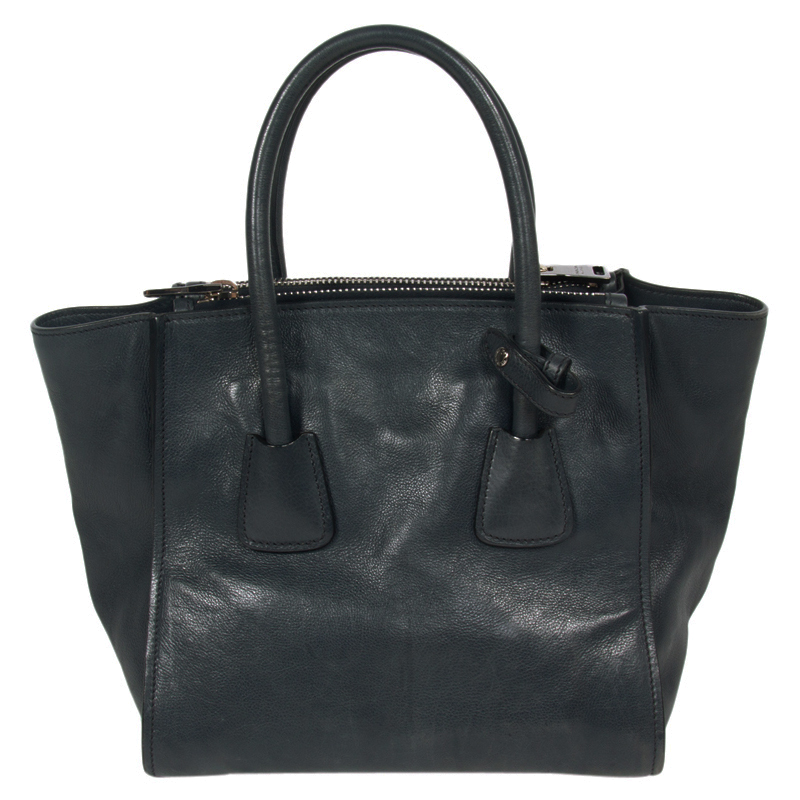 Купить со скидкой Prada Midnight Blue Glace Calfskin Leather Twin Pocket Double Handle Tote