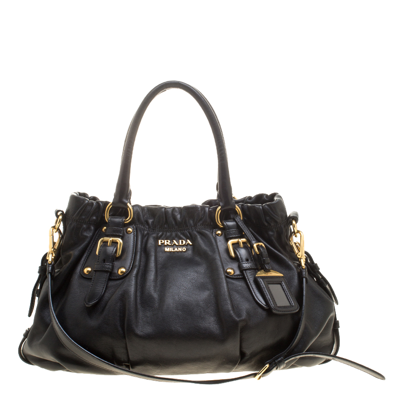 510abab5ac2bc Buy Prada Black Soft Calf Leather Shopping Tote 141172 at best price ...