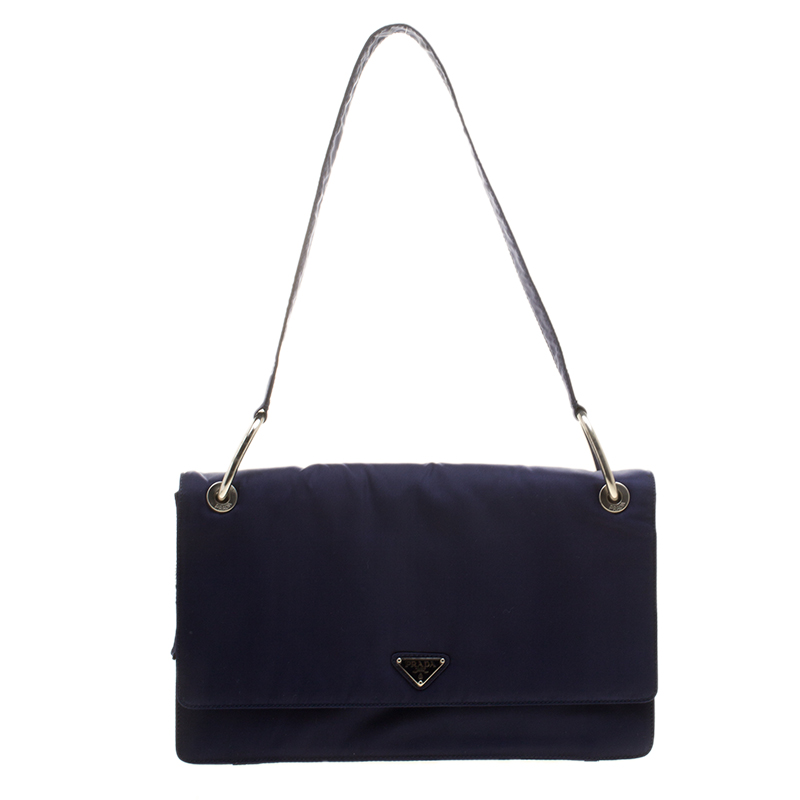 ... Prada Navy Blue Tessuto Nylon Flap Shoulder Bag. nextprev. prevnext