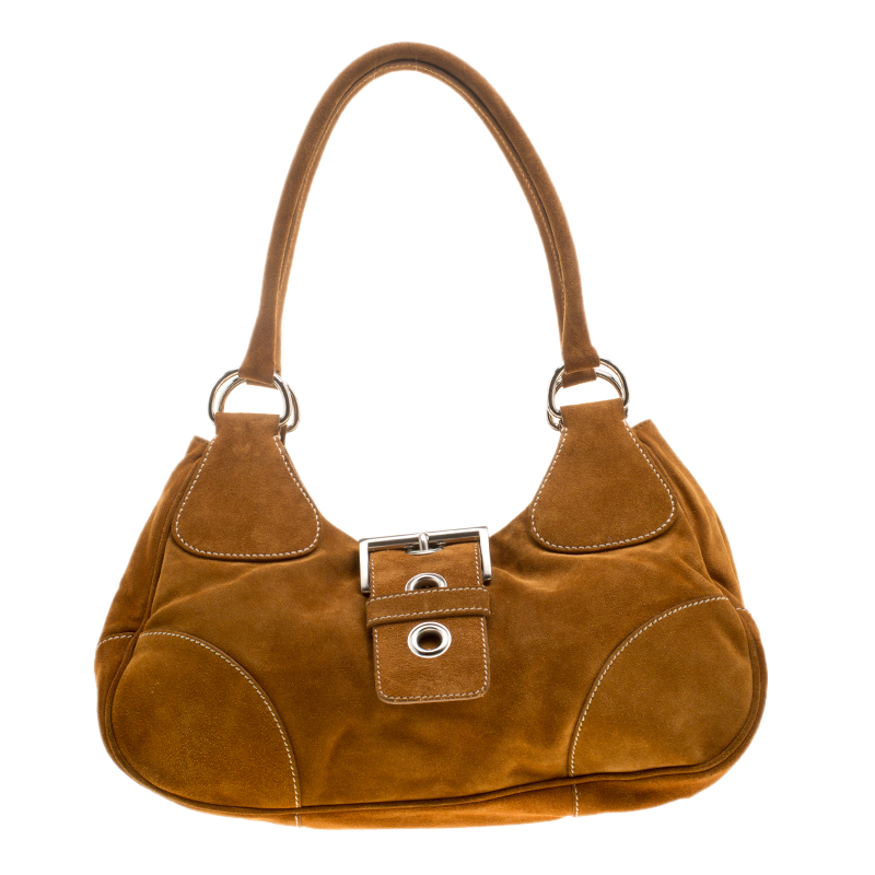 6d4cfb9a706e5b Buy Prada Dark Camel Suede Shoulder Bag 141496 at best price | TLC