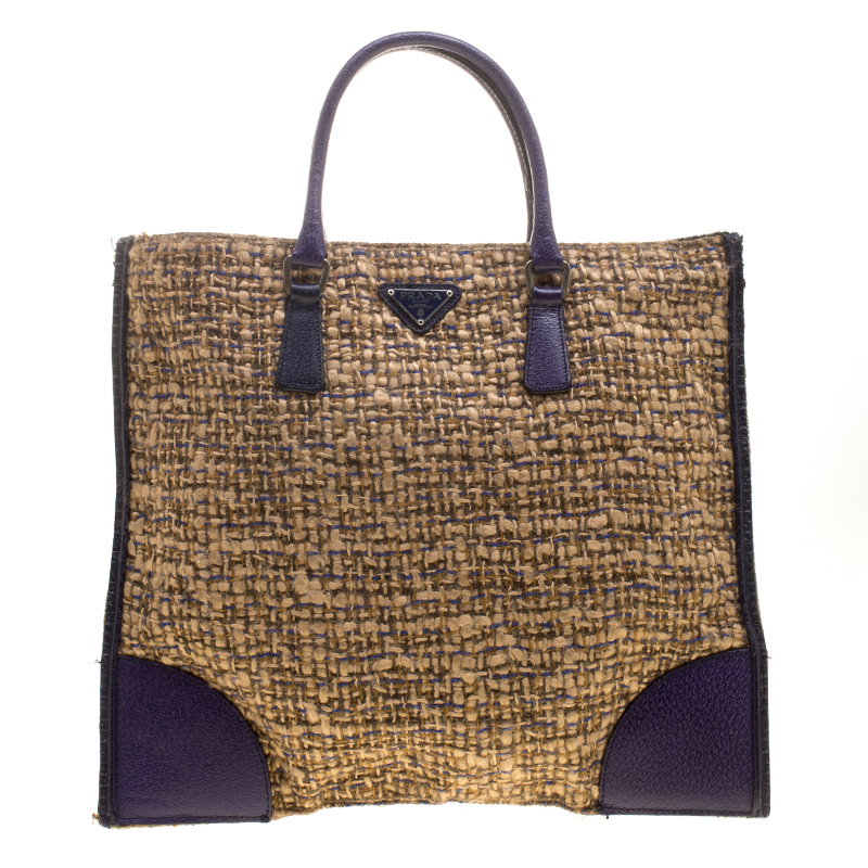 ba345c6bbafc Buy Prada Beige Purple Tweed and Leather Flat Tote 141542 at best ...