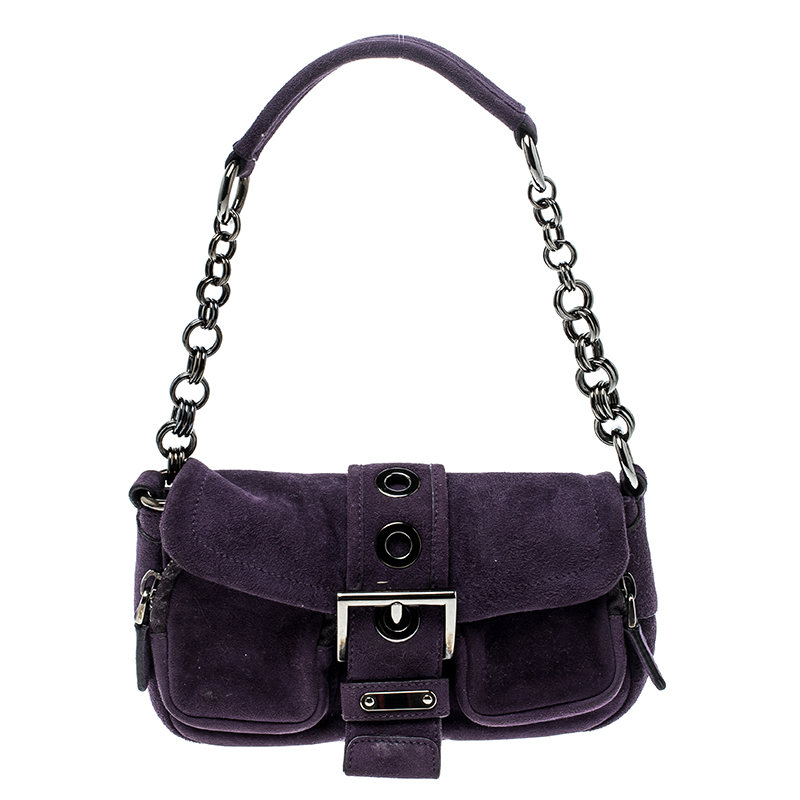 9bc1e1cdce Buy Prada Purple Suede Chain Shoulder Bag 142230 at best price