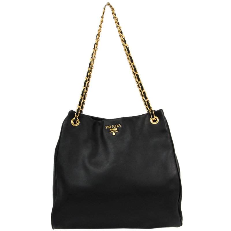 bbe2668269 Buy Prada Black Leather Chain Shoulder Bag 142321 at best price