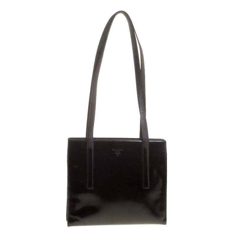 69811e078fc5 Buy Prada Black Leather Vintage Tote 142812 at best price | TLC