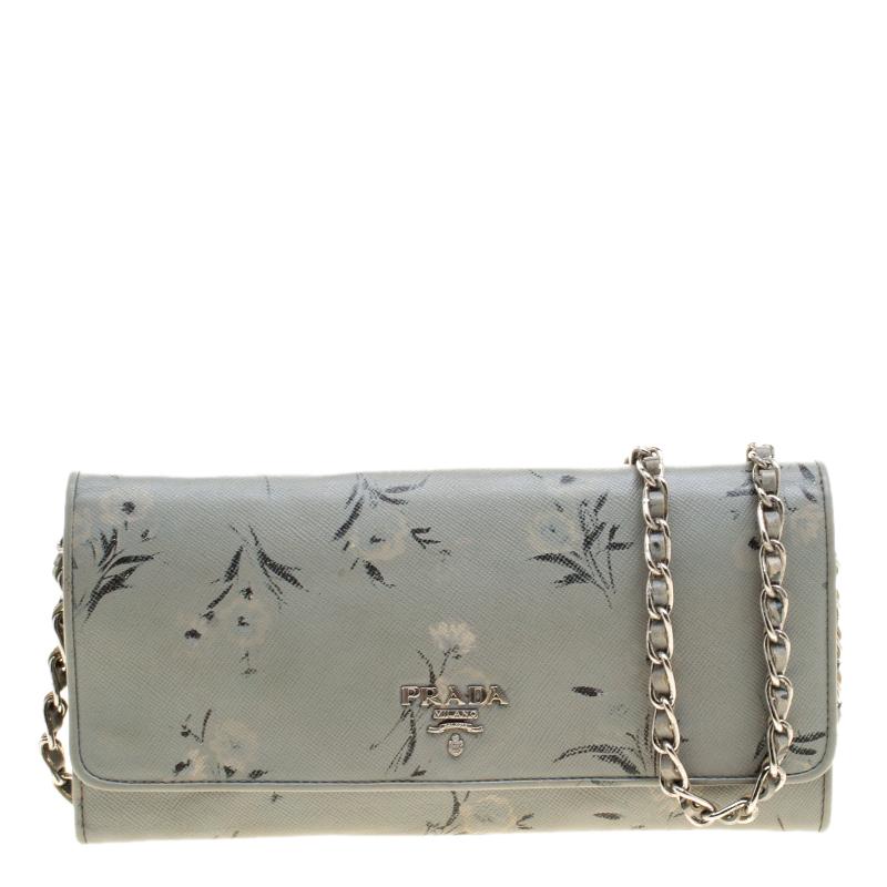 Купить со скидкой Prada Grey Floral Print Saffiano Leather Wallet on Chain