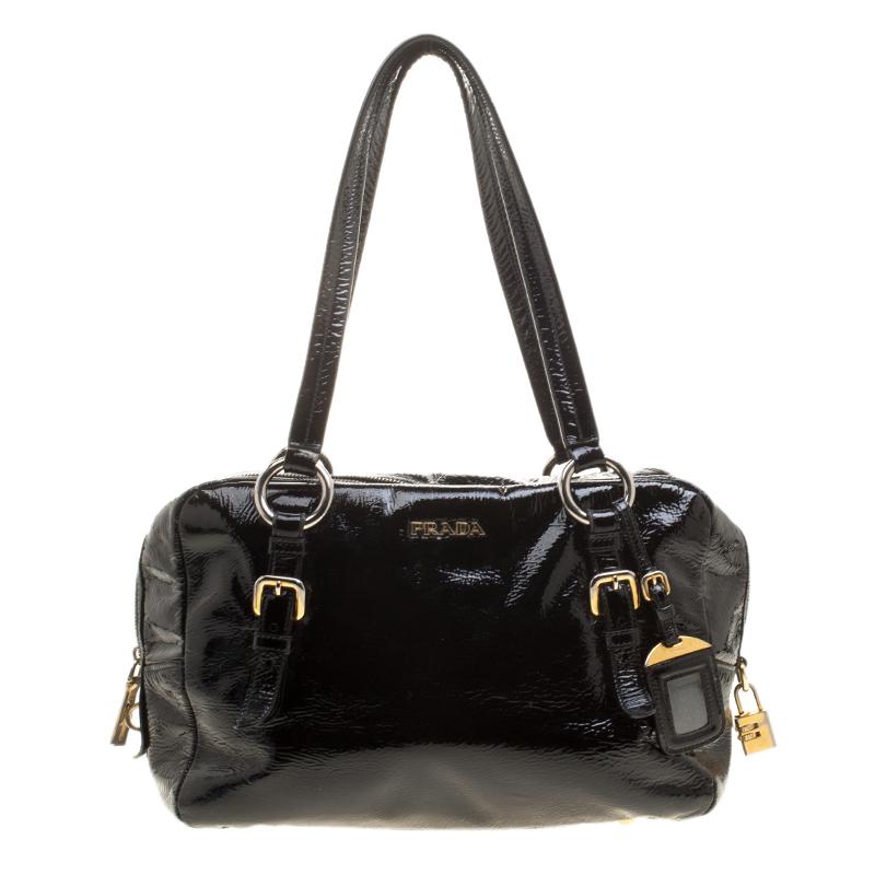 07288671b77d Buy Prada Black Textured Patent Leather Satchel 142901 at best price ...