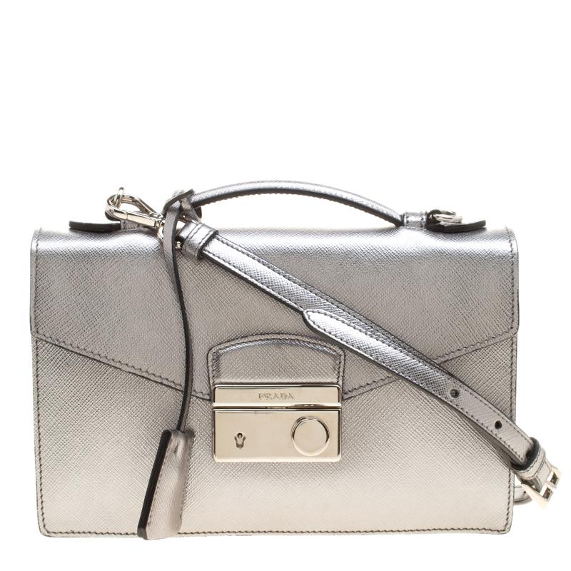 0a7e997f714c6f Buy Prada Metallic Silver Saffiano Metal Leather Crossbody Bag ...