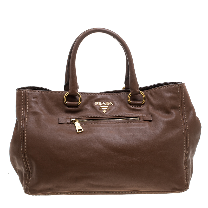 df2d915551c1 Buy Prada Brown Leather Tote 144401 at best price