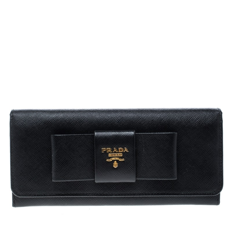 e49861d32a5b ... Prada Black Saffiano Leather Bow Continental Wallet. nextprev. prevnext