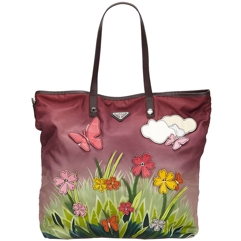 ad81afefa Buy Prada Multicolor Printed Nylon Shopper Tote 146187 at best price ...