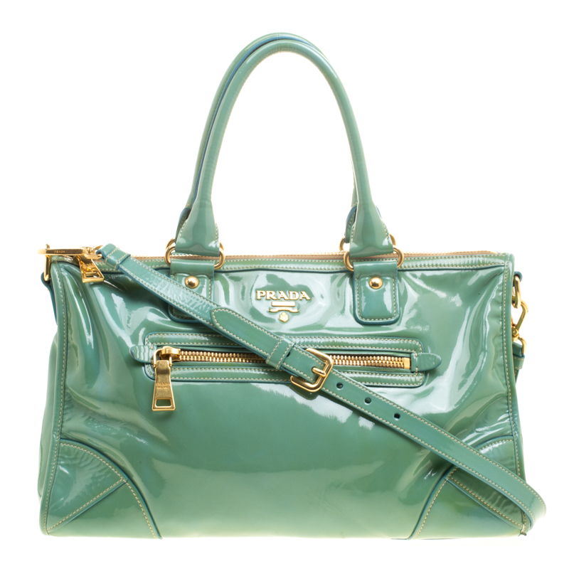 a2afe8093f4e Buy Prada Green Patent Leather Satchel 146310 at best price | TLC