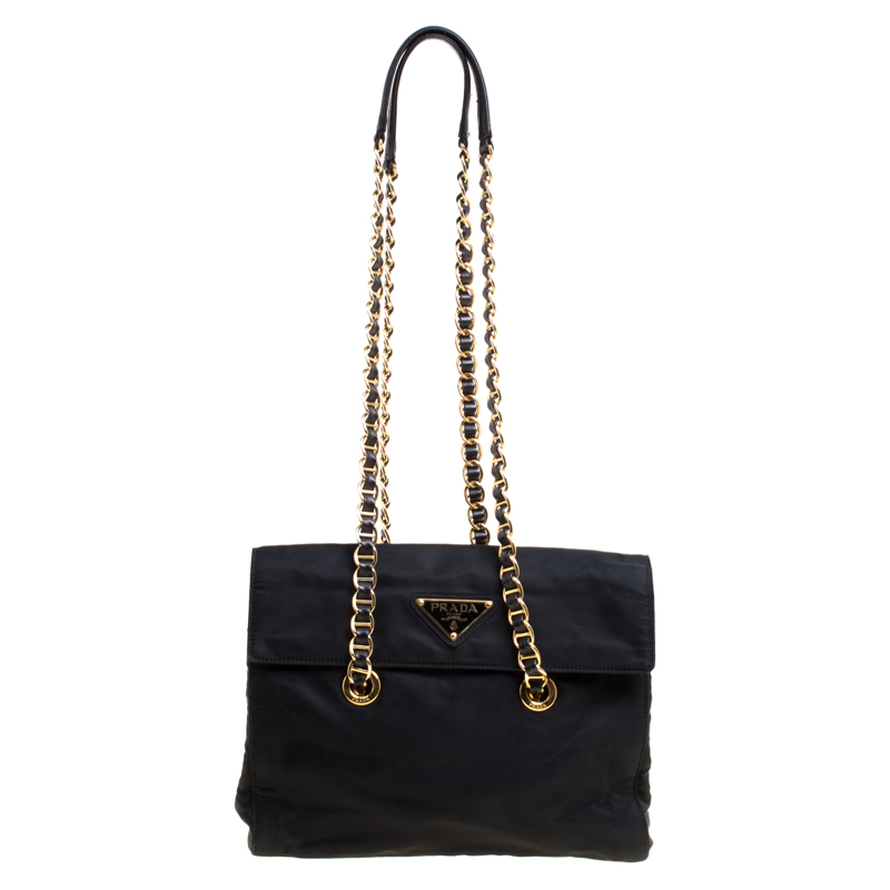 6ee86d512fc9 Buy Prada Black Tessuto Catena Shoulder Bag 146980 at best price | TLC