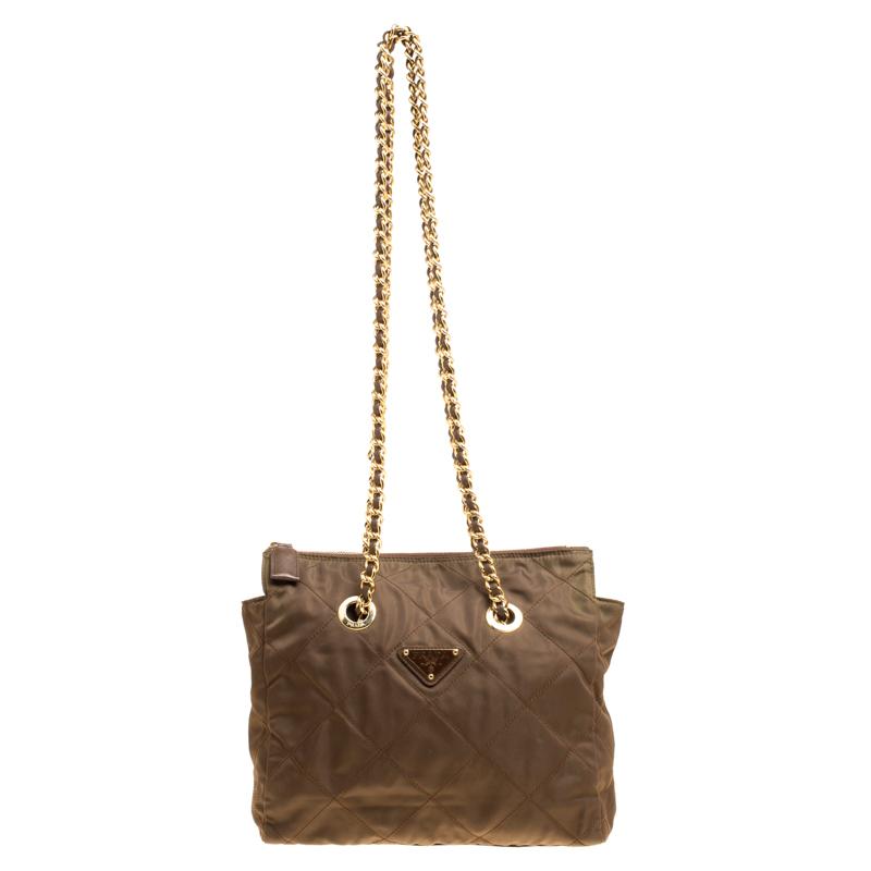 f30a863aa7fe ... Prada Olive Green Tessuto Impuntu Shoulder Bag. nextprev. prevnext