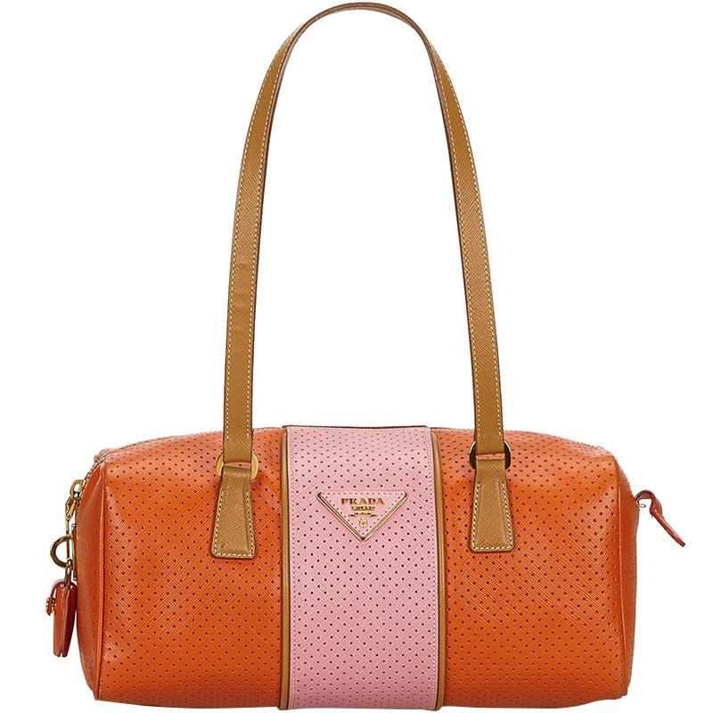 4fe48a1e40a3 ... Prada Orange Pink Perforated Saffiano Fori Striped Bauletto Shoulder  Bag. nextprev. prevnext