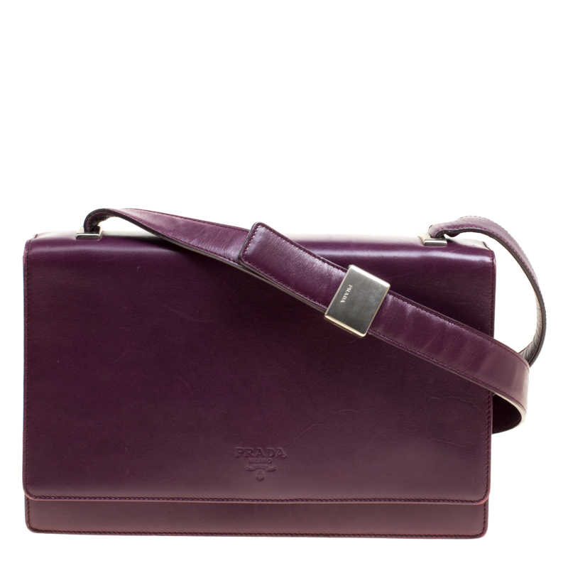 f4cc9f8dc7 Buy Prada Purple Leather Flap Shoulder Bag 147784 at best price