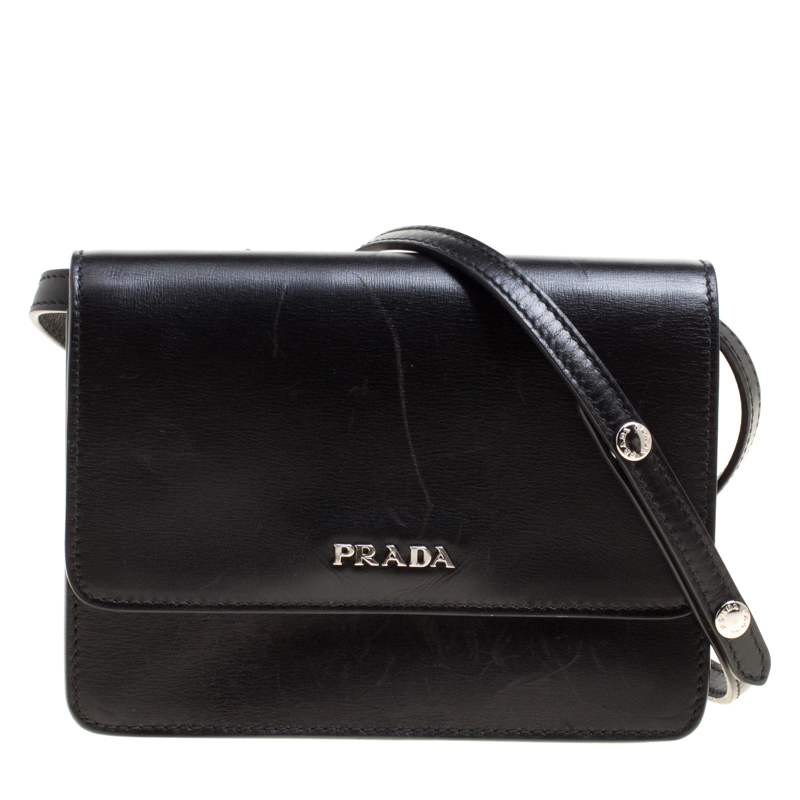 b9b694e40dfe Buy Prada Black Leather Mini Crossbody Bag 149531 at best price | TLC