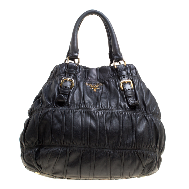 9d482394cd41 Buy Prada Black Nappa Gaufre Leather Shopping Tote 149682 at best ...