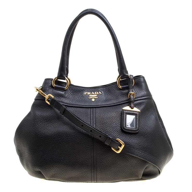 c1f95f4e34ea Buy Prada Black Pebbled Leather Sacca 2 Manici Shoulder Bag 150353 ...