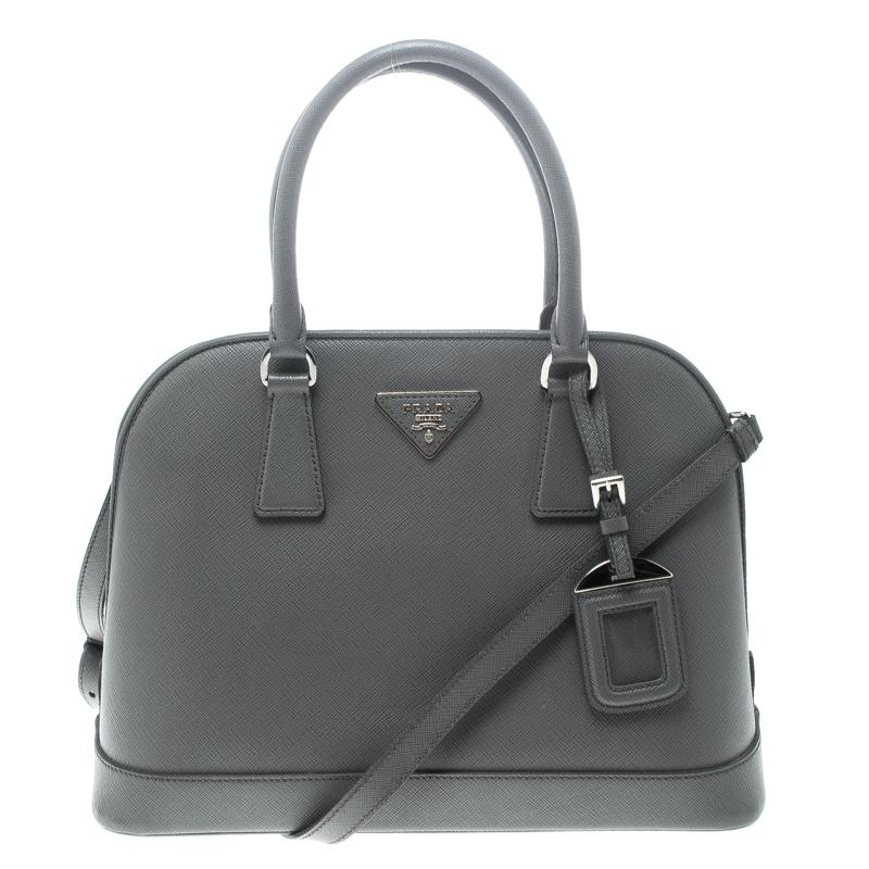dc63fd6c5a ... Prada Grey Saffiano Leather Open Promenade Top Handle Bag. nextprev.  prevnext