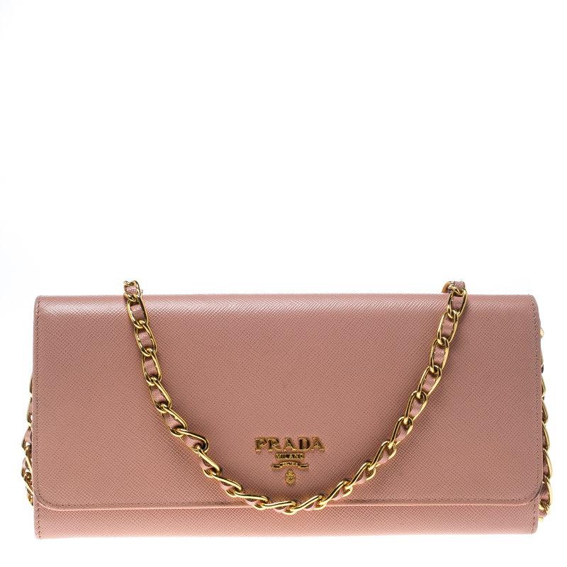 ffbde096af48 ... Prada Pink Saffiano Metal Leather Wallet on Chain. nextprev. prevnext