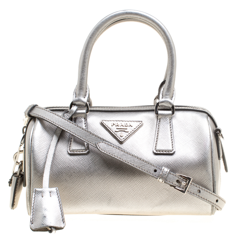 Prada Metallic Grey Saffiano Lux Leather Crossbody Bag