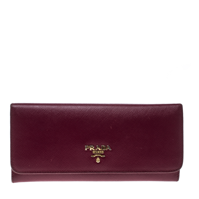 Купить со скидкой Prada Magenta Saffiano Leather Continental Wallet