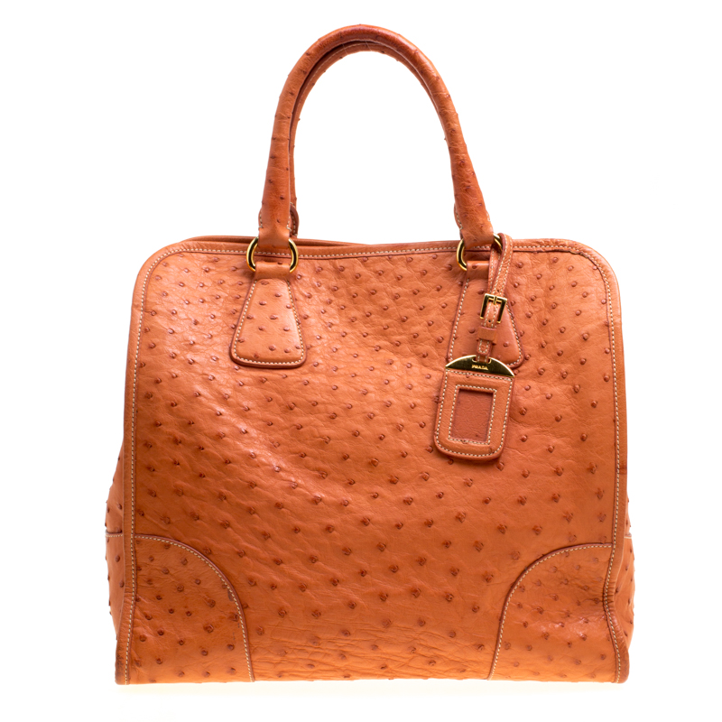 d0da5cdd8834b5 Buy Prada Orange Ostrich Leather Tote 150846 at best price | TLC