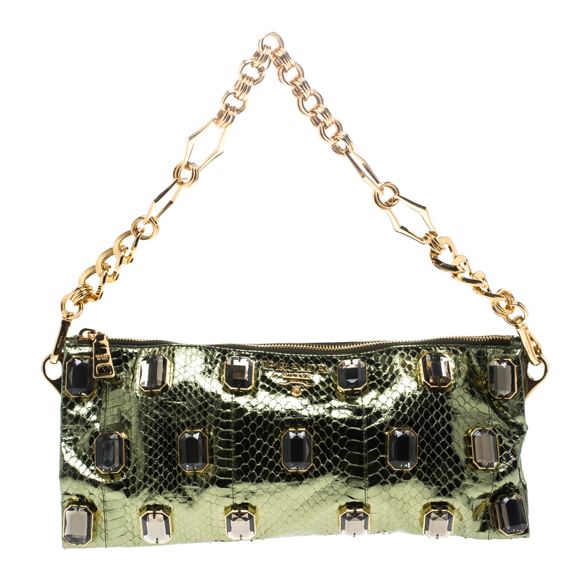 82a653a307fe14 Buy Prada Green Python Whips Pietre Chain Clutch 150865 at best ...