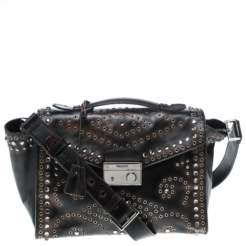 41c12a53aa31 Buy Prada Dark Brown Vitello Vintage Leather Eyelet Crystal ...