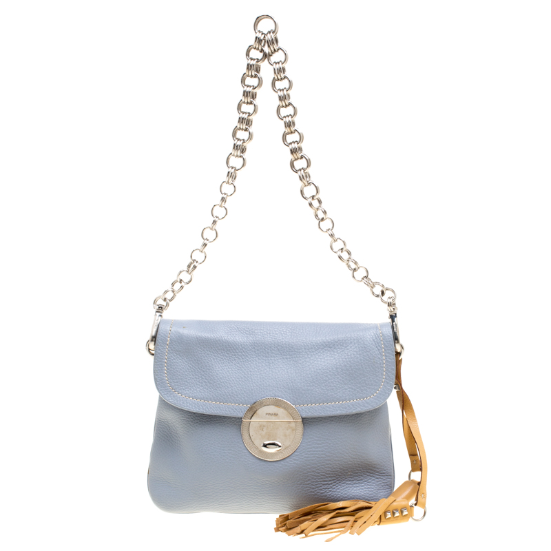 c4a4523291b3 Buy Prada Pale Blue/Beige Leather Tassel Shoulder Bag 150997 at best ...