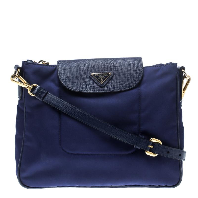55f464e421a8 ... Prada Blue Nylon/Saffiano Leather Crossbody Bag. nextprev. prevnext