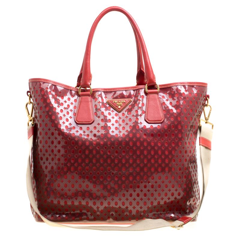 b4e17a3bec Buy Prada Red Perforated PVC Tote 152175 at best price | TLC