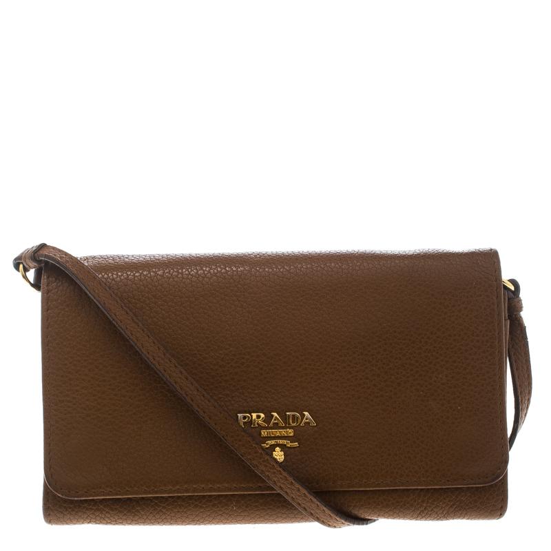 b1f423c1 Prada Brown Leather Crossbody Bag