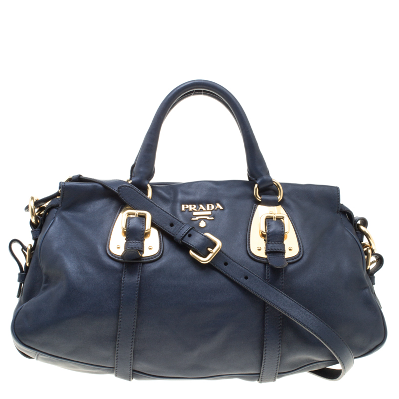 Buy Prada Navy Blue Leather Satchel 152244 at best price  80b42a89b5e94