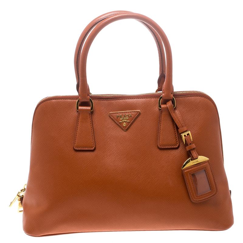 4aeaf052bcfa Buy Prada Orange Saffiano Lux Leather Promenade Tote 152345 at best ...