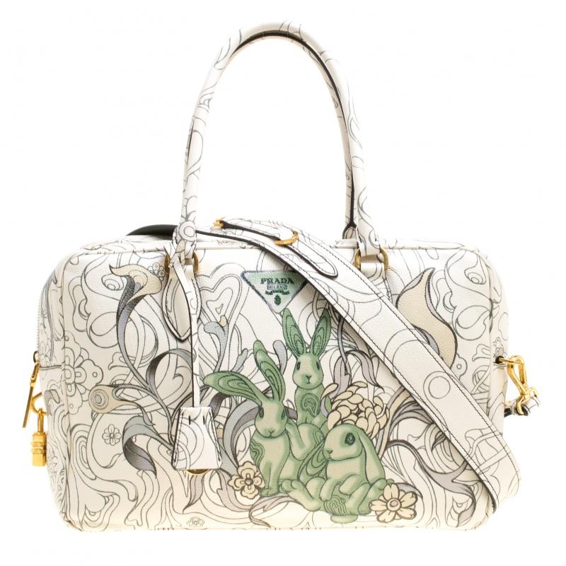 a6ef95f83717 Buy Prada Multicolor Rabbit Print Leather Top Handle Bauletto Bag ...