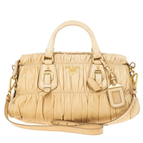 81a62cea35b9 Buy Prada Beige Nappa Gaufre Leather Satchel 15247 at best price | TLC
