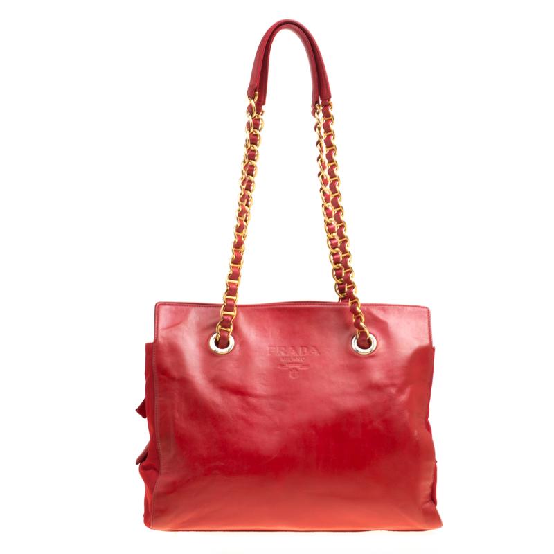 34bde5039b ... Prada Red Leather and Nylon Chain Handle Tote. nextprev. prevnext