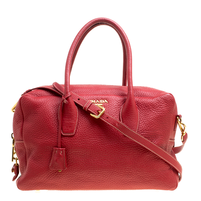 3bb51478ed8e ... new zealand buy prada red vitello daino leather top handle bag 154852  at best 2cab2 d4558