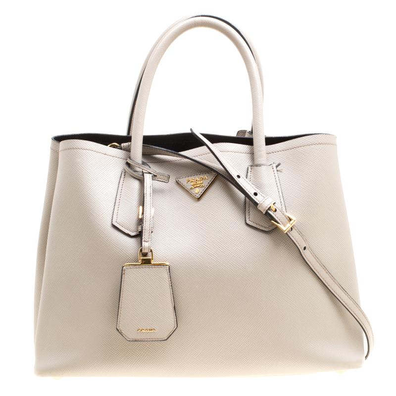 Фото #1: Prada Grey Saffiano Cuir Leather Double Top Handle Bag